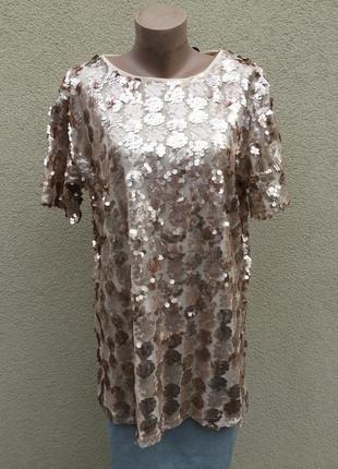 Красивая,нарядная,вечерняя блуза,кофта в пайетки,большой размер