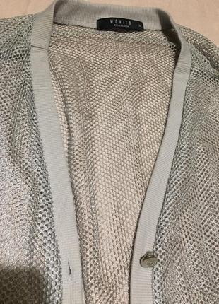 Ажурная серая кофта с рукавом три четверти