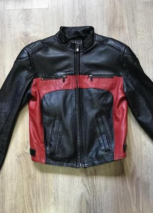 Мотокуртка кожаная vera pelle байкерская куртка