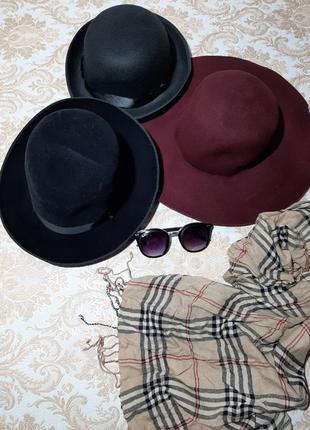 Пляпа, шляпка цвета бордо с полями3 фото