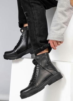 Рр 36-40 осень(зима) натуральная кожа стильные ботинки с болтами и интересной шнуровкой