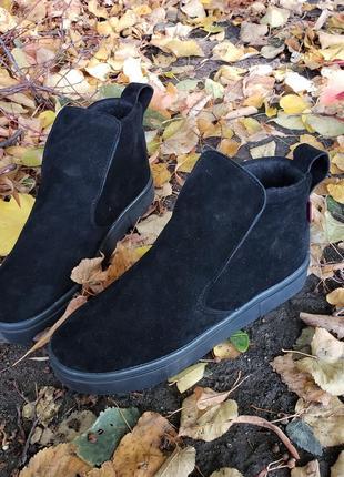 Замшевые демисезонные ботинки высокие слипоны2 фото