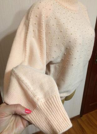 Нежный свитер,расшитый жемчужина2 фото