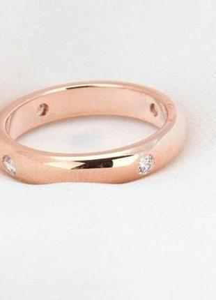 Позолоченное кольцо женское с цирконами код 8872 фото