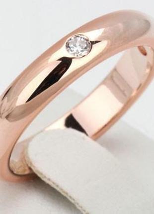 Позолоченное кольцо женское с цирконами код 8873 фото