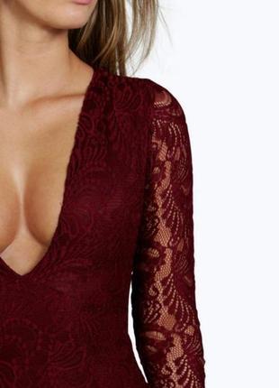 Шикарное платье миди карандаш футляр по фигуре кружево мелкая вязка бордо
