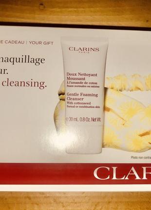 Clarins набор умывалка пенка мусс +повязка на голову