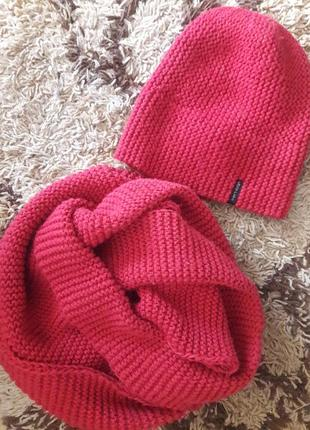 Вязаная шапка с хомутом розового цвета на флисе, шапка снуд на флисе