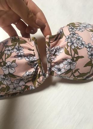 Стильный верх от купальника топ бикини купальник бандо верх лиф принт цветы h&m