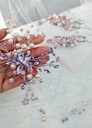 Гребень ручной работы для свадебной прически