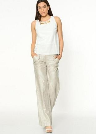 Фирменные ярко-серебристые женские брюки gizia размер 42 l-xl