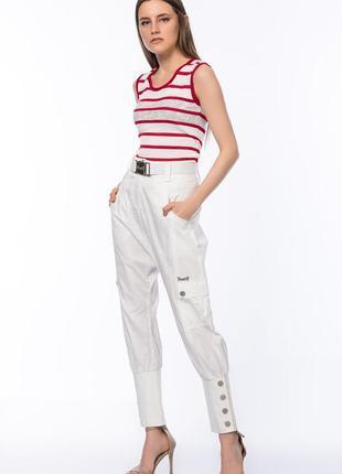 Фирменные женские белые брюки 4g by gizia размер 42 l-xl с белым поясом