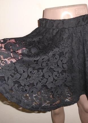 Кружевная юбка-солнце мини/спідниця з гіпюром/мереживо