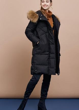 Новый шикарный пуховик зимний кокон оверсайз мех енот vero moda l-xl