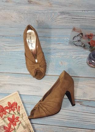 Коричневые замшевые туфли ботинки ботильоны под замшу gorgeous р. 37 (4)