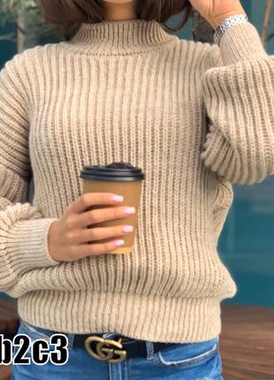 Уютные ,теплые вязаные свитера без горла ,плотная чулочная вязка 10 цветов1 фото