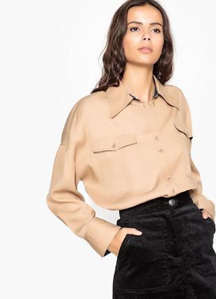 Крутая коттоновая рубашка oversize с накладными карманами и погонами