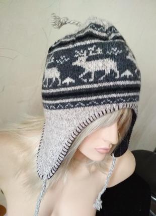 Оригинальная шапка с оленями), 50%шерсть