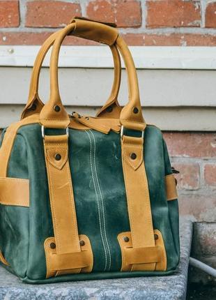 Женская спортивная сумка, кожаная дорожная сумка, зеленый саквояж