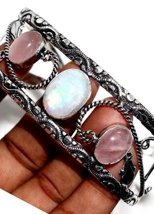Ажурный браслет-манжет. лунный камень - адуляр + розовый кварц. 925пр