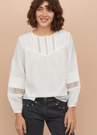 Белая блуза с широким рукавом 32,34,36