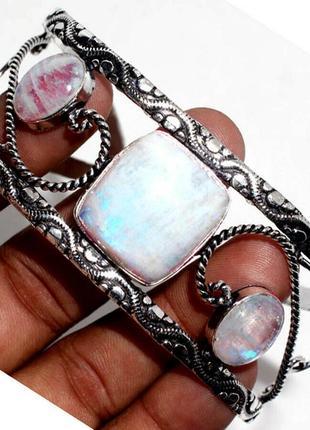 Элегантный браслет-манжет. лунный камень - адуляр 925пр