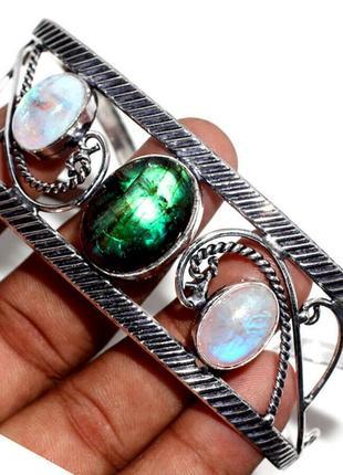 Элегантный браслет-манжет. сияющий лабрадорит+адуляр. 925пр