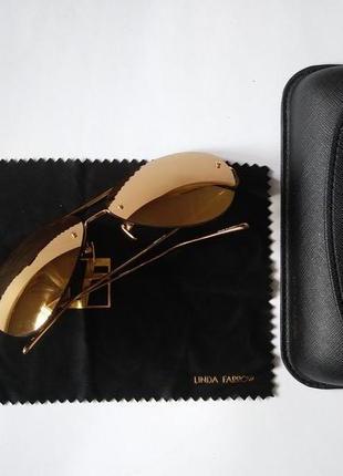 Очки люкс оригинал с родным чехлом linda farrow 574 c1 aviator sunglasses gold