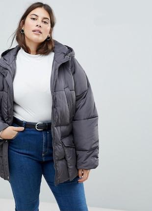 Asos трендовая серая куртка пуховик оверсайз, большой размер