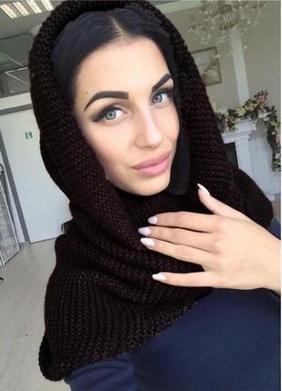 Теплый вязаный шарф-хомут