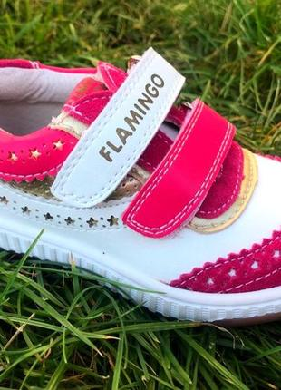 Кожаные кроссовки фламинго
