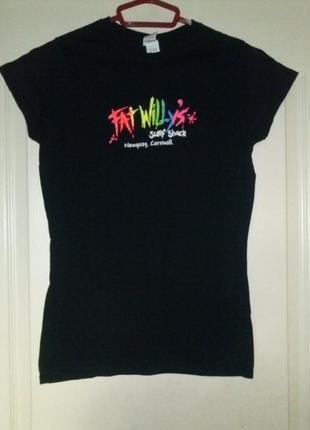 Чёрная футболка с надписью сёрфинг fat willy's surf shack xs/s