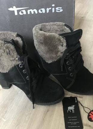 Зимние ботинки tamaris оригинал р. 37, зима, натуральные замша и мех