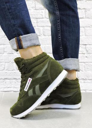 Зимние женские кроссовки. хаки.