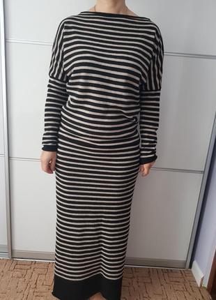 Платье теплое макси в полоску с разрезом