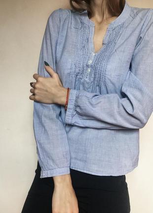 Рубашка h&m   ⠀ нежно- голубая. рукава подкатываются  размер xs ⠀