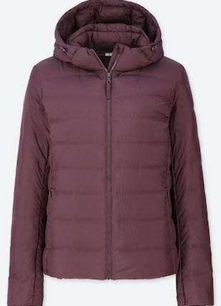 Отличная пуховая куртка с капюшоном uniqlo