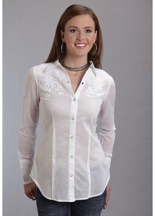 Очень красивая белоснежная рубашка с вышивкой и камушками размер хл biaggini