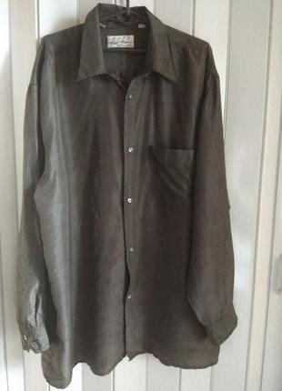 Роскошь шелка! классная шелковая блуза рубашка , натуральный шелк, большой размер