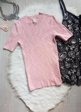 Натуральная розовая кофточка в рубчик джемпер под горло с короткими рукавами пуловер