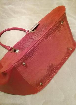 Итальянская кожаная сумка с вставками под крокодила  red3