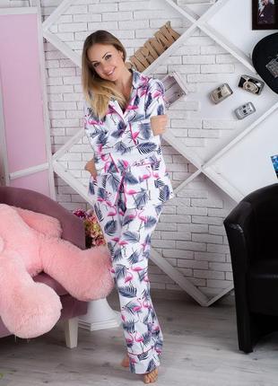 Пижама фланелевая фламинго (есть другие расцветки)1 фото
