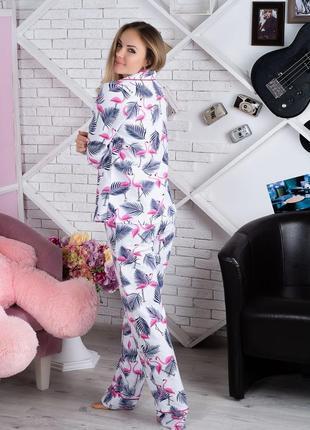 Пижама фланелевая фламинго (есть другие расцветки)4 фото