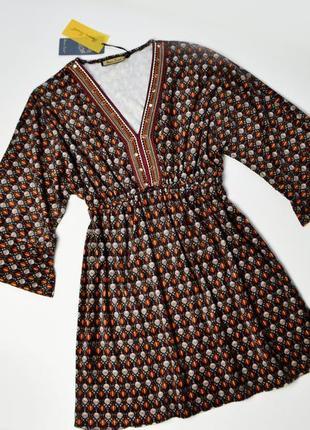 Роскошное теплое вельветовое платье в принт