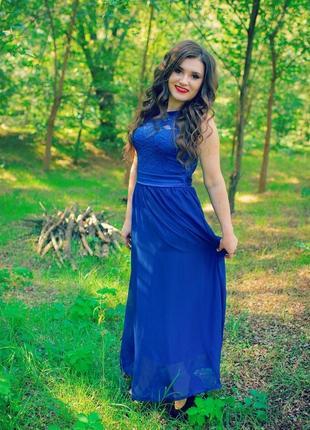 Вечернее платье в пол цвет электрик размер 46