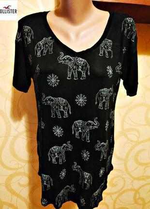 Свободная футболка со слониками от hollister, оригинал