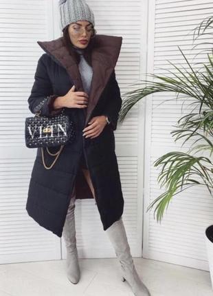 Новая двухсторонняя куртка чёрная коричневая куртка