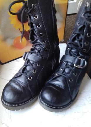 Ботинки зимние -берцы -кожа -37-38-стелька 23,4 -унисекс- mida