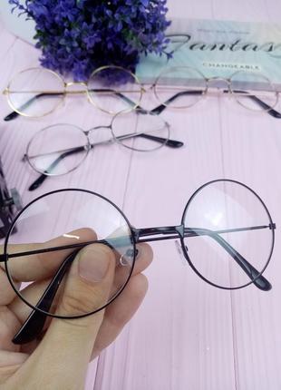 Имидж очки чёрные круглые нулевки прозрачные без диоптрий окуляри