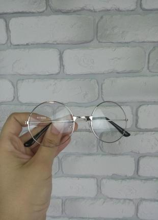 Имидж очки серебряные круглые прозрачные без диоптрий